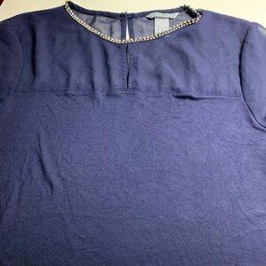 H & M dark blue top with rhinestone neck detail